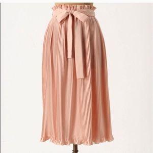Pink anthropologie Hunter Dixon pleated midi skirt